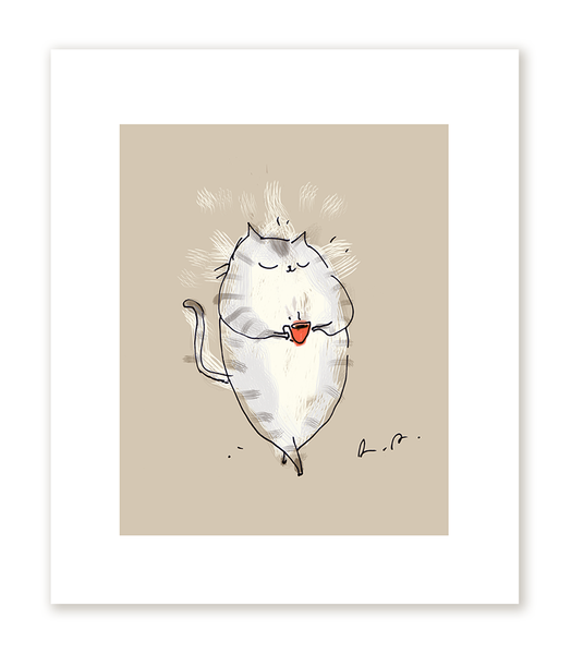Coffee Cat Print- Morning Cup