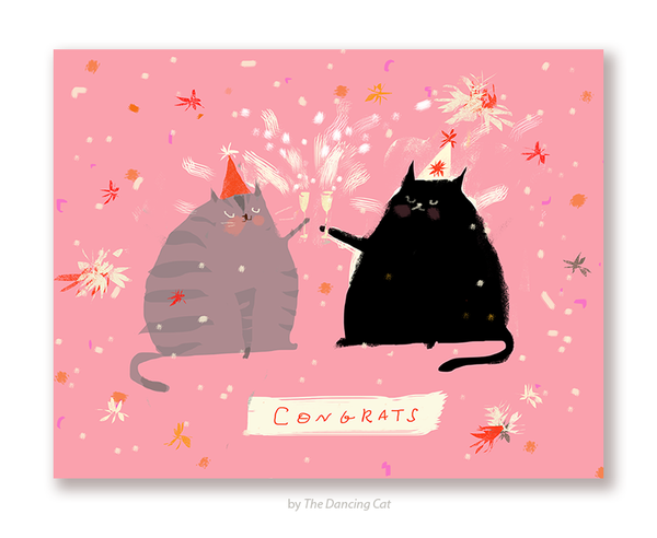 Congrats Cat Card - Cheers