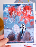 Congrats Cat Card - Fireworks
