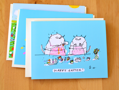 Happy Spring and Easter Card Set - Mixed Set of 4