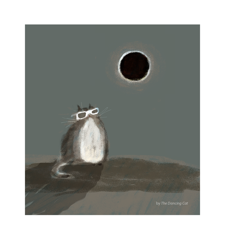 Solar Eclipse Cat Print