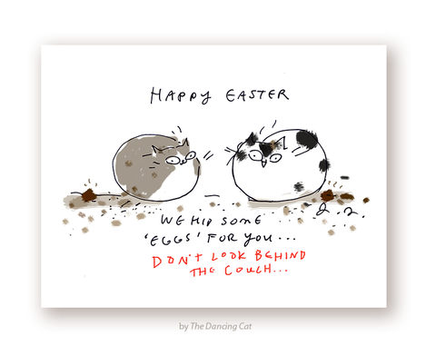 Happy Easter Cat Card - Easter Eggs