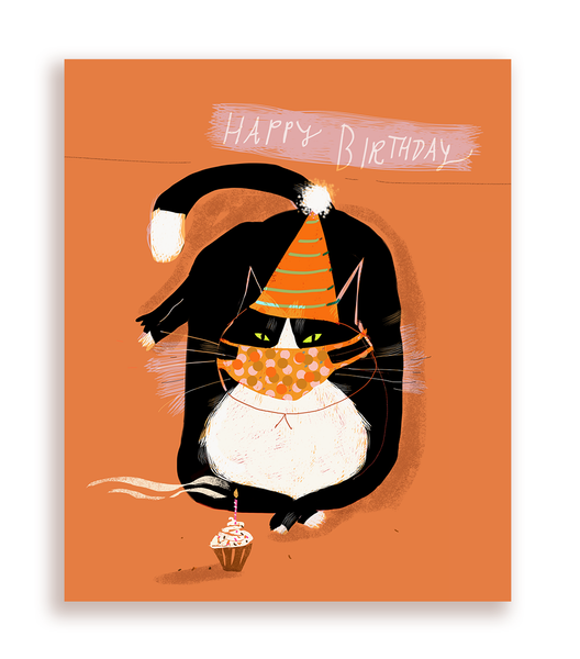 Happy Birthday Kitty Mask Card- Orange Edition