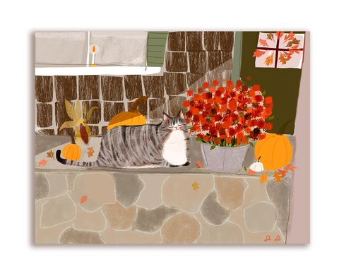 Fall Vibes Cat Card- Front Porch Kitty