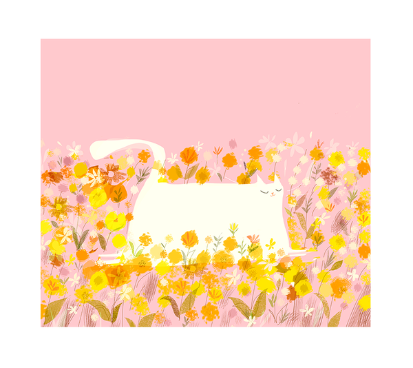 Field of Kitty- Flower Cat Print- LARGE