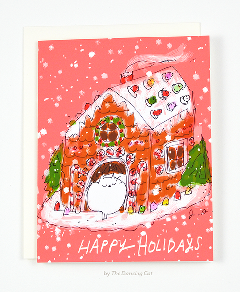 Gingerbread Cat House - Holiday Card