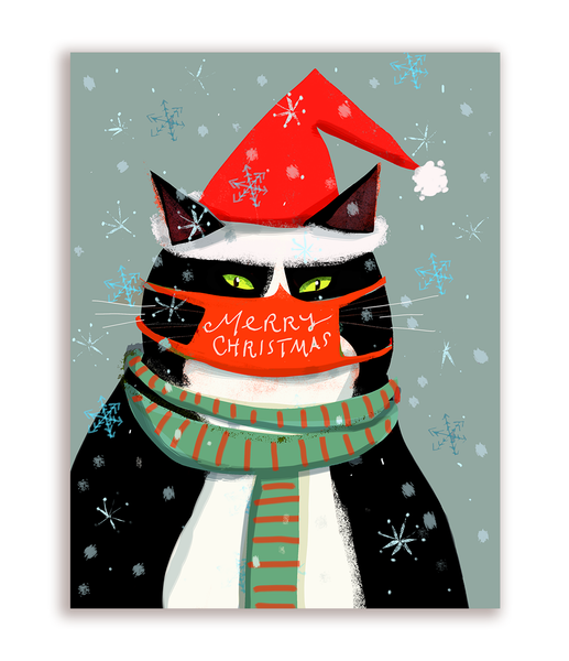 Merry Christmas Cat Mask Card - Cat with Scarf