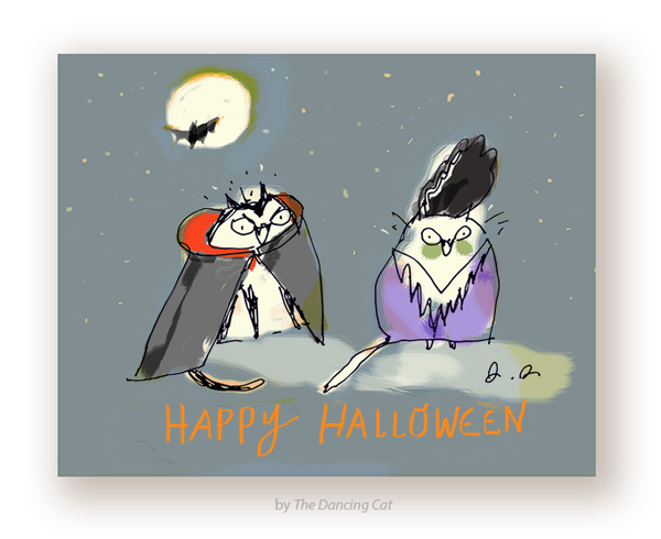 Halloween Cats Card - Big Night