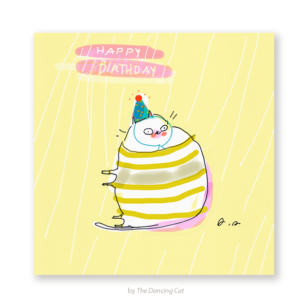 Happy Birthday Cat Card - Striped Sweater