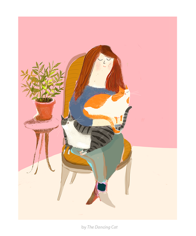 Purrs and Good Thoughts- Cat Lady Print - Cat Art