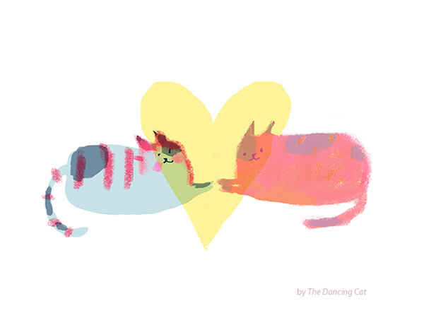 Big Heart- Love Cat Card