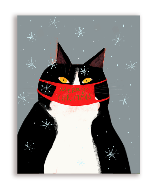 Merry Christmas Cat Mask Card - Yellow Eyes