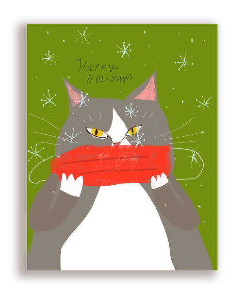 Happy Holidays- Cat Card