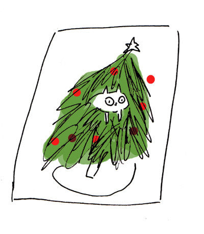 Christmas Card- Cat in tree