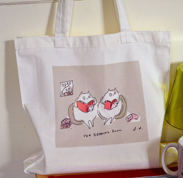 Cat Tote- Reading Room Cats- Cat Bag