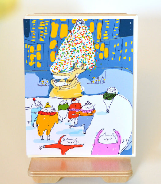 Rockefeller Center Christmas- Christmas Cat Card- NYC
