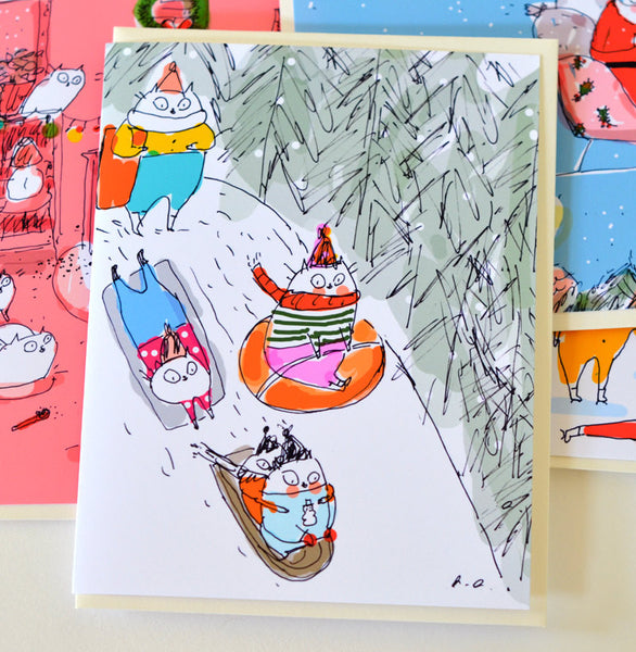 Sledding Party- Christmas Cat Card