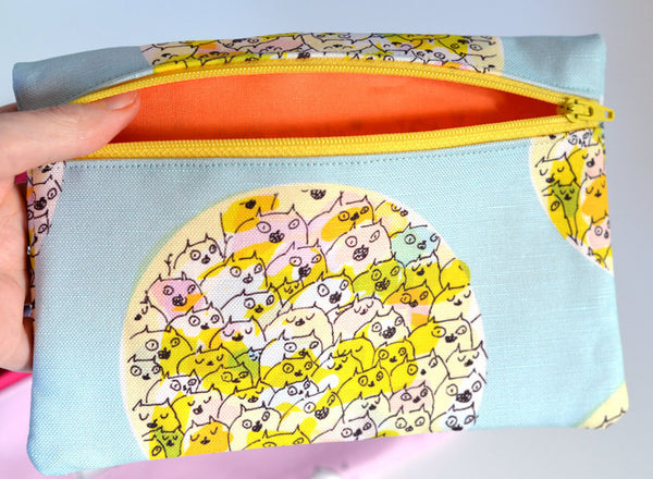 Happy Cat Zipper Pouch- Cat Bag - Mother's Day Gift - Limited Edition