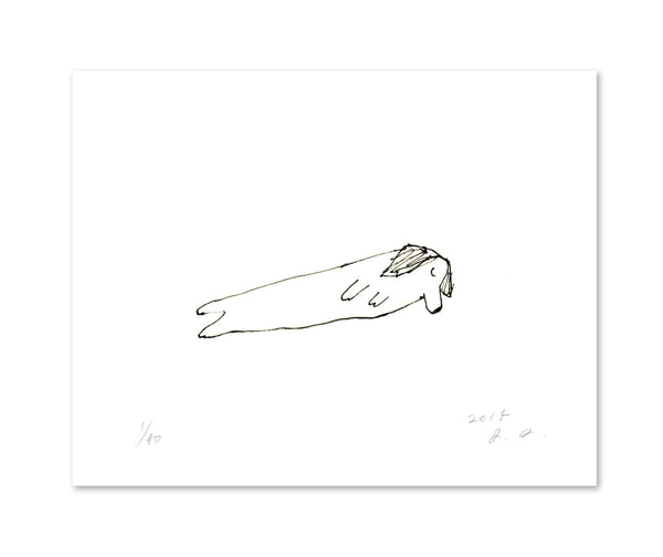Sleeping Dachshund- Dog Print- Simple Dog Art