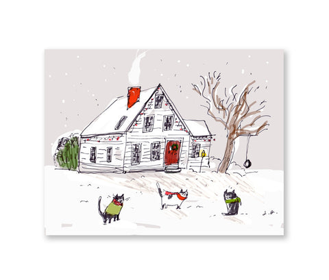 Country Cats- Christmas Card - Holiday Card