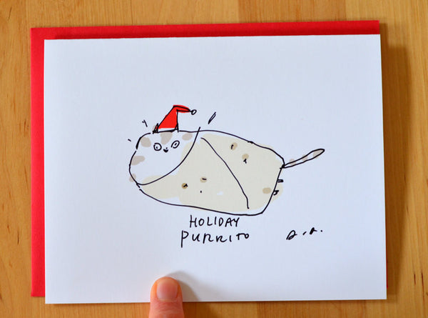 Holiday Purrito Card- Funny Christmas Cat Card