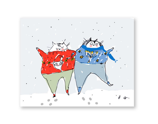 Christmas and Hanukkah Card- Holiday Cat Card