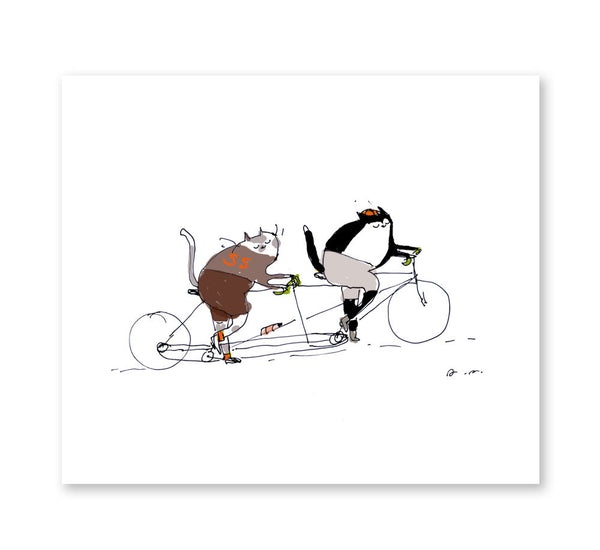 Bike Art - Tandem Bike Cats - Cycling Cat Art - Cycling Poster