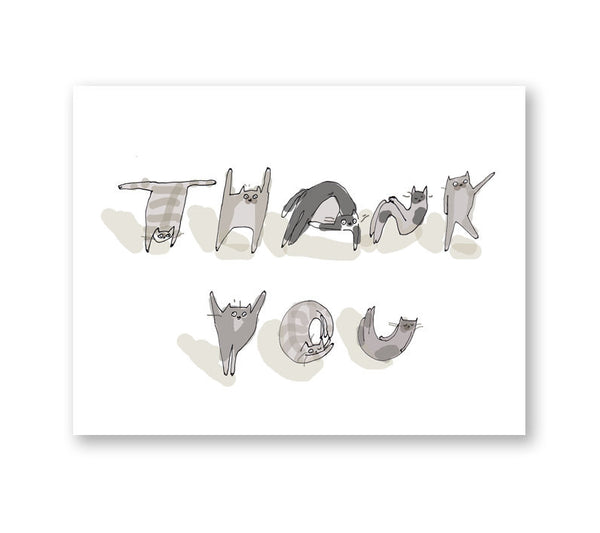 Thank You Cat Card - Alphabet Cats