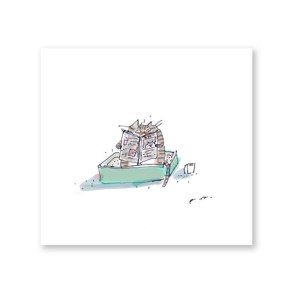 Quality Toilet Time Print - Stripped Tabby Cat