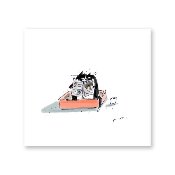 Quality Toilet Time Print - Tuxedo Cat- Art for Bathroom