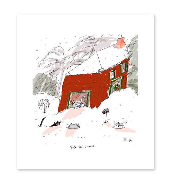 The Visitors - Snow Cats - Cat Art - Snow Art - Winter Storm - Country Art