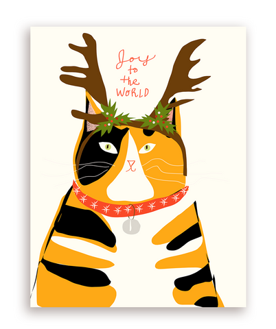 Joy to the World Christmas Cat Card