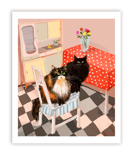 Kitchen Cats- Waiting for Dinner - Cat Print