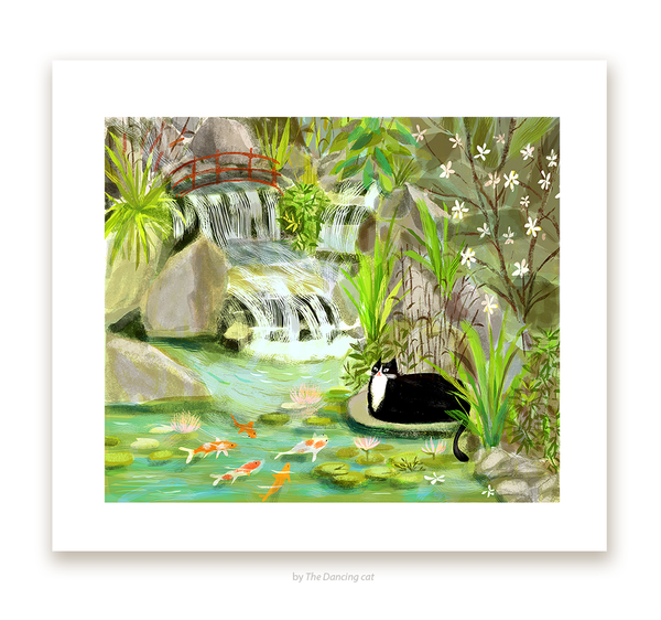 Koi Pond Kitty- Fine Art Print