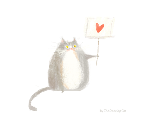 Love Not Hate - Cat Print