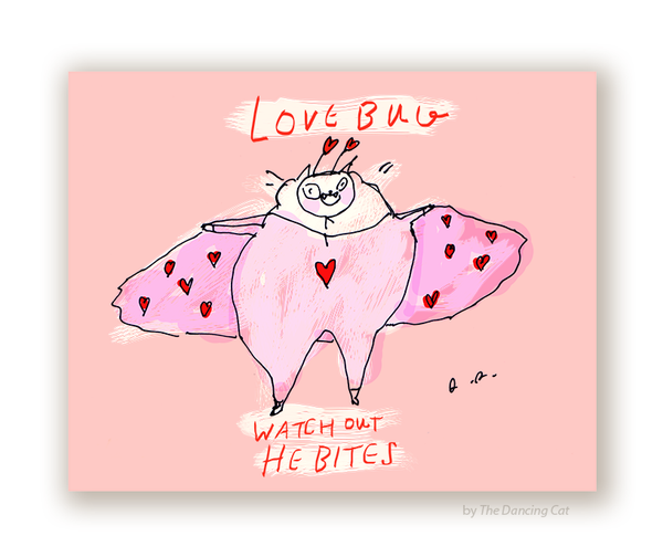 Love Bug - Valentine's Day Cat Card