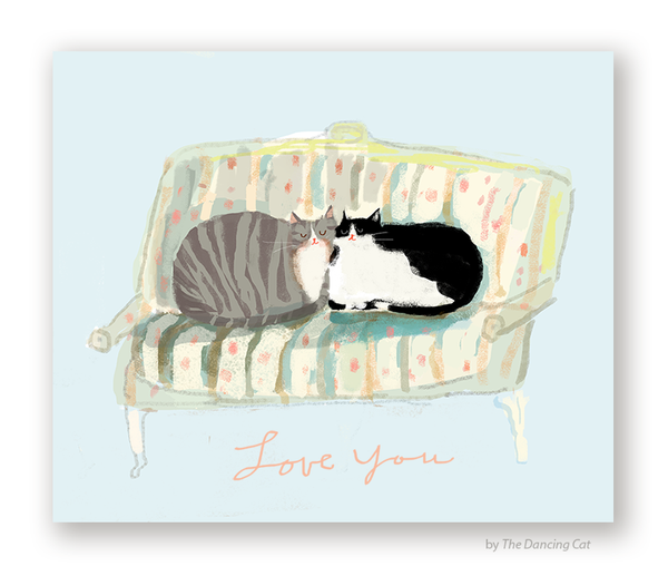 Love Seat Cats - Love You Card