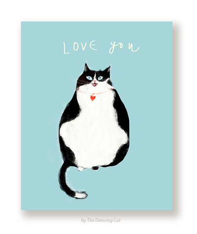Love You Cat Card - Black & White Cat