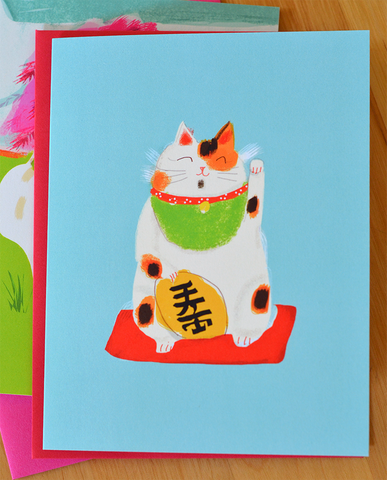 Lucky Cat Card - Maneki Neko