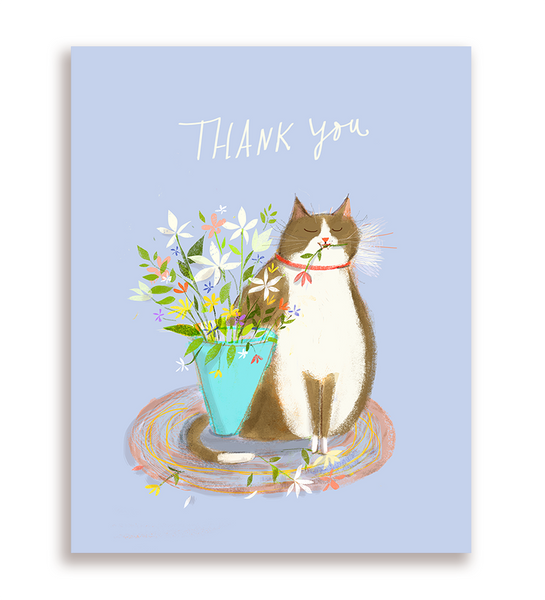 Flowers- Thank You Cat Card