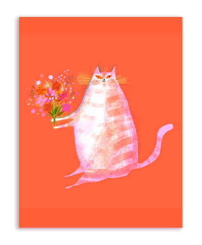 Flower Cat Card