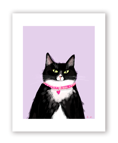 Miss Kitty- Tuxie Love Cat Print
