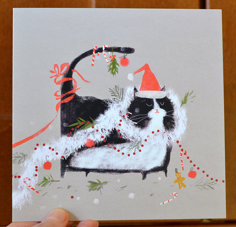 Merry Mess- Christmas Cat Card - Large
