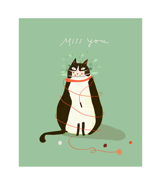Miss You Cat Card
