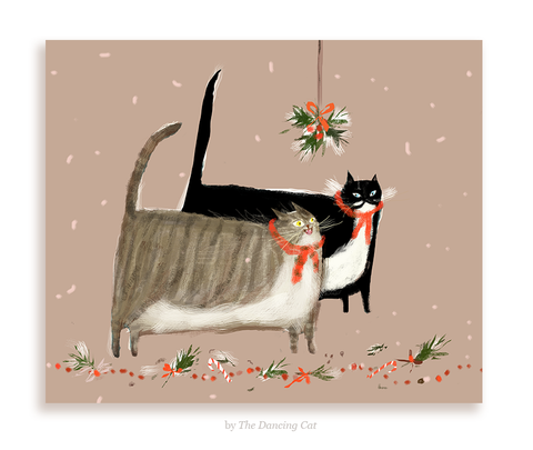 Under the Mistletoe - Christmas Cat Card