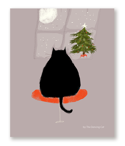 Waitin' Up - Christmas Cat Card