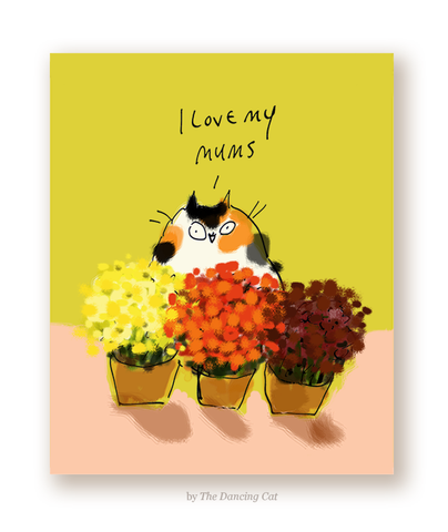 I Love My Mums Cat Card
