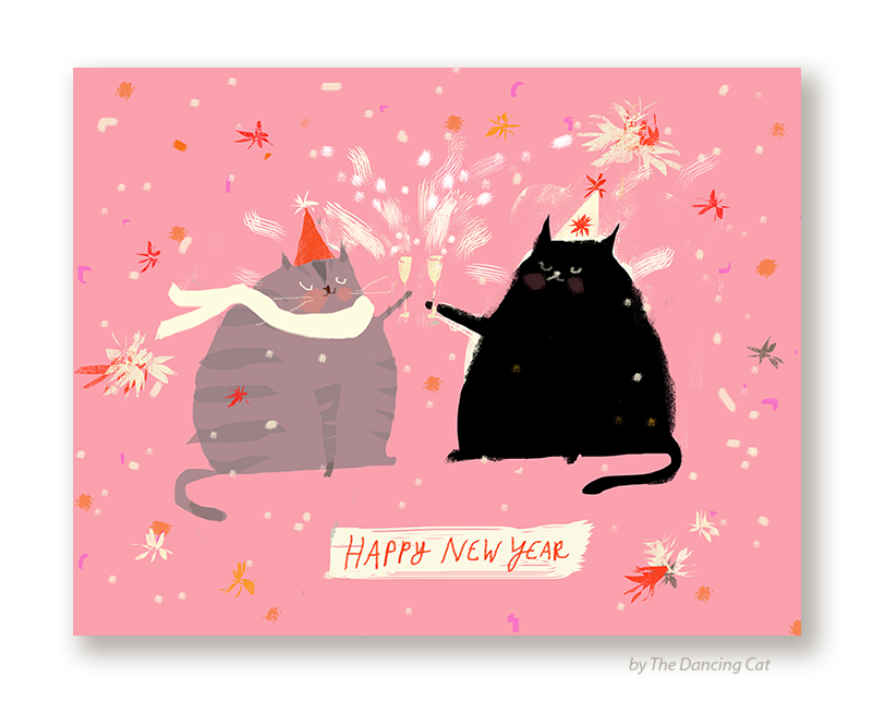 happy new years cat card