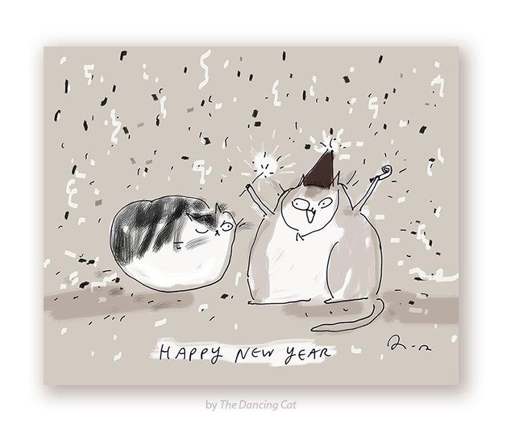 happy new year cat card
