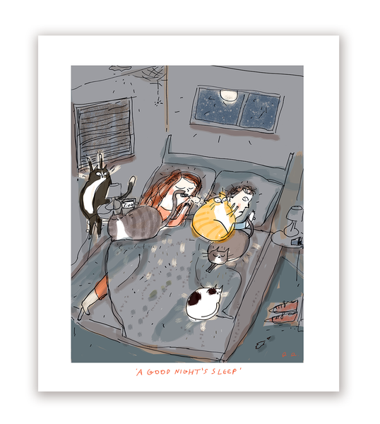 A Good Night's Sleep- Cat Print